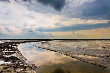 Mudflads in het noorden van Friesland, Nederland
