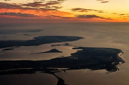 zeeland: Impression of the Dutch province of Zeeland, from the air, after sunset.