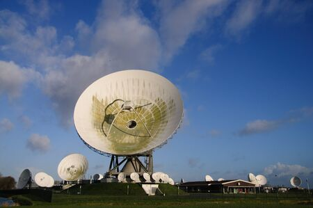 Large dish receivers for satellite communication in the town of Burum, The Netherlands.