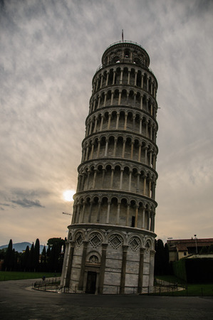 The Famous leaning tower of Pisa, early in the morning. Tuscany, Italy.