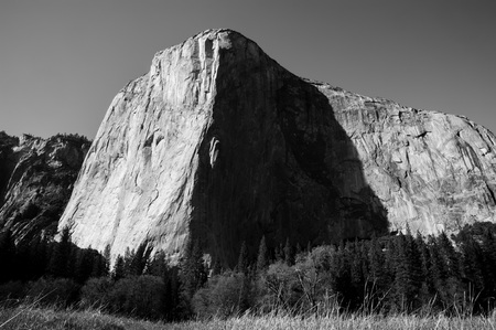 Black and White shot of Shot of El Capitan, one of the most famous climbing areas in the World. Yosemite National Park, California, USA