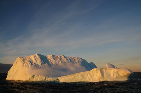 cloud drift: Giant tabular icebergs floating in the Weddell Sea, in Antarctica.