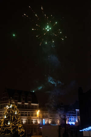 A display of Fireworks in the city of Ghent, Belgium, on new years day.