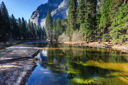 View along the merced river in Yosemite national park Stock Photo