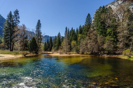 bridalveil fall: View along the merced river in Yosemite national park Stock Photo
