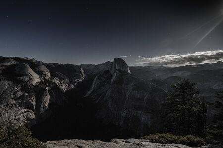 half dome: Night time shot of Halfdome and Yosemite Valley, from Glacier Point. Yosemite National Park, California, USA.