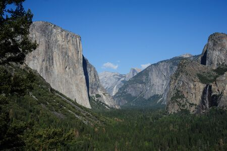 bridalveil fall: Summer view of Yosemite Valley from Tunnel View in early April