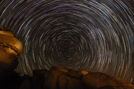A Star trail of the Northern Skies over Joshua Tree National Park