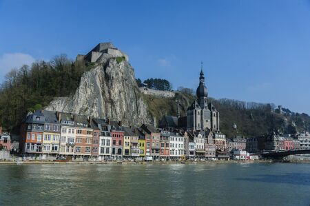 The City of Dinant as seen from across the Muese river Stock Photo