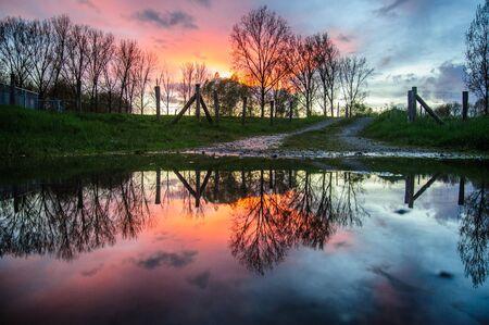 heist: Sunset reflected in a pool of rainwater in east flanders, belgium