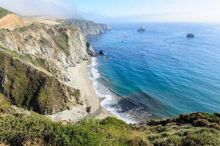 californian: United States Highway 1 along the Californian Pacific Coast in mid summer