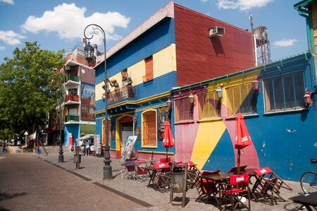 BUENOS AIRES, ARGENTINA, JANUARY 06. La Boca is a very colorful and lively area in Buenos Aires, known for its many wooden statues and colorful houses. Editorial