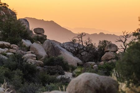Hidden Valley, in Joshua Tree National Park, during golden hour just before sunset.