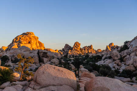 Sunrise over the Hidden Valley Campground area in Joshua Tree National Park