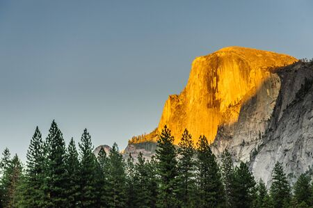 The setting sun illuminates parts of Half Dome with bright golden colors. This particular sunset was shot from the floor of Yosemite Valley, in Yosemite National Park 版權商用圖片