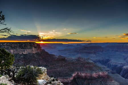 The South Rim of the Grand Canyon on an early August evening, just before sunset Stock Photo