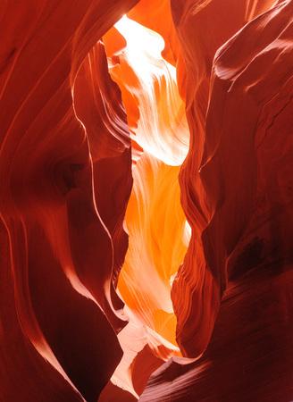 The interior of the narrow walls of the winding Antelope Canyon in Navajo Tribal Park, near  Page Arizona.
