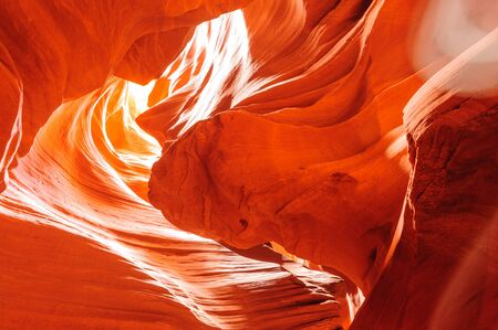 The interior of the narrow walls of the winding Antelope Canyon in Navajo Tribal Park, near  Page Arizona.