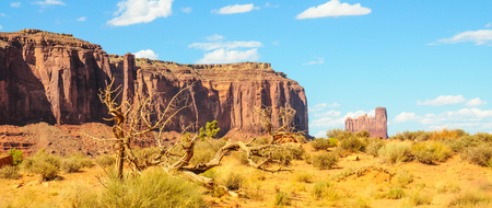 Butte and Mesa rock formations that mark the entrance to Monument Valley, Arizona, USA.
