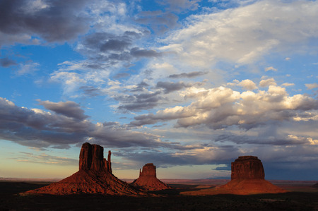 Classic rock formations known as Buttes in Monument Valley in Arizona  during sunset.