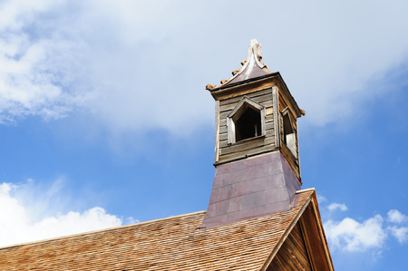 The tower of the old Church in the Californian Ghost Town of Bodie Stock Photo