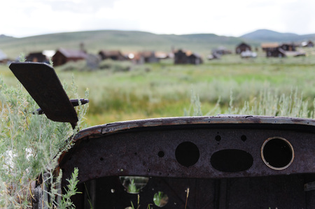 An old abandonded car is left in the American Ghost Town of Bodie, on the California Nevada Border Stock Photo