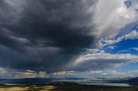 Storm clouds emmassing over Mono Lake in the Sierra Nevadas, near the Town of Lee Vining, on an early august afternoon. Stock Photo