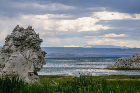 Classic sand stone formations, known as Tufa, higlighted along the coast line of Mono Lake, near the town of Lee Vining, in Eastern California