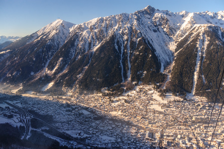 The Mont Blanc and the Valley near Chamonix de Mont Blanc, as seen from the Cable Car to the Aiguille du Midi Stock Photo