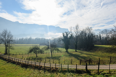 Landscape shot of the Savoy Area, Near Entre-deux-Guiers, in Souther France, on a clear Winter Afternoon Stock Photo