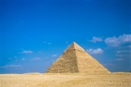 Exterior of the Great Pyramids of Giza, near Cairo in Egypt.