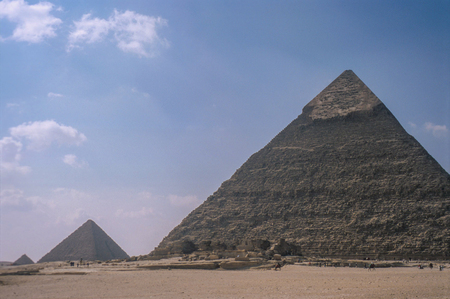 Exterior of the Great Pyramids of Giza, near Cairo in Egypt, late 2003. Stock Photo - 98093978