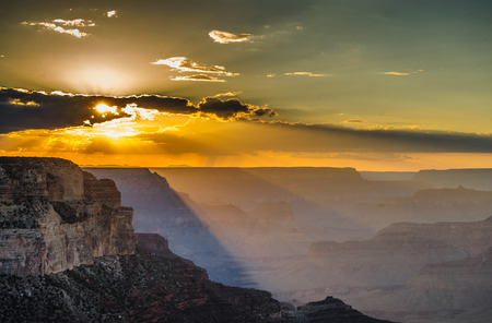 The South Rim of the Grand Canyon on an early August evening, just before sunset Фото со стока
