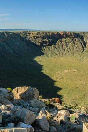 Looking down into Arizonas Meteor Crater along the southern rim.