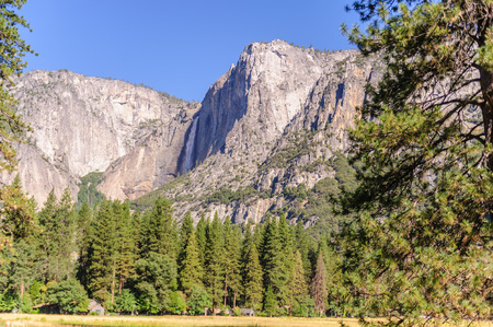 The upper yosemite falls on a bright summers day, early august. Yosemite National Park, California