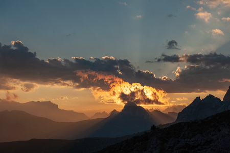 Sunset at the Passo di Giau, in the Italian Dolomites, on a late July evening. Archivio Fotografico