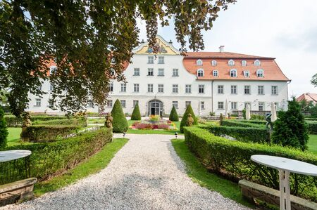 Lautrach, Germany, July 23 2018. Exterior of the German hunting Castle Schloss Lautrach. It was famous for many scientist who visited, including Albert Einstein. Currently, it is a conference hotel.
