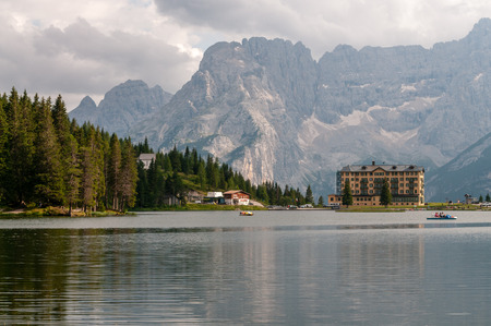 The calm waters of Lake Misurina in the Italian Dolomites, just before sunset.