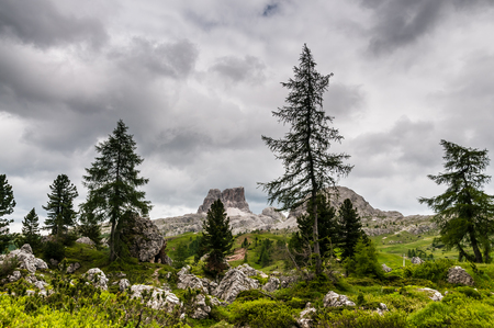 The Dolomites on an overcast day