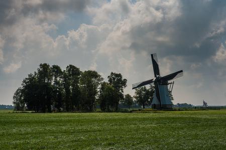 Traditional Dutch Windmill in Friesland