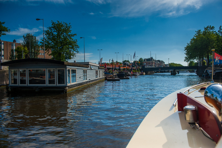 The Amstel River in central Amsterdam Stock Photo