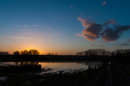 Sunset in East Flanders Stock Photo