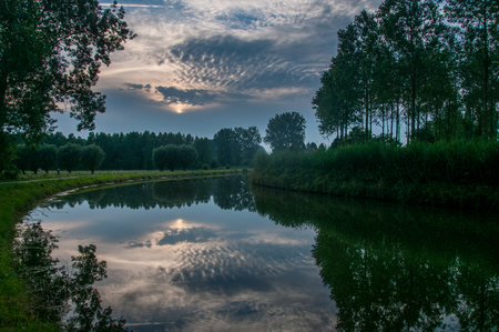 Evening shot along the river de Dender, in east flanders, Belgium