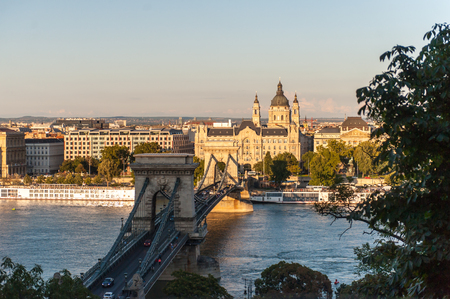 An impression of the Széchenyi Chain Bridge crossing the donau river in Budapest.