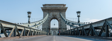 A unique perspective of the Széchenyi Chain Bridge. It was deserted due to a traffic accident.