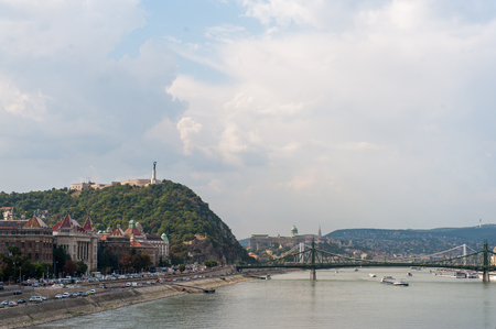 Impression of the Donau river in Budapest, on a summers afternoon. Stock Photo