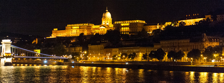 The famous royal Palace in Budapest, as seen from the donau river, at night.