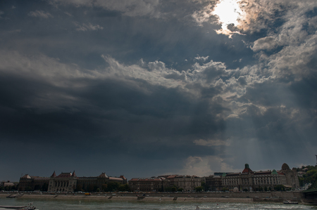A clearing sky after a particularly rainy day in summer in Budapest, hungary.