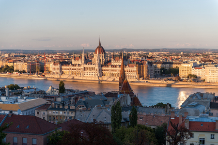 Budapest 2013: The last rays of the setting sun illuminate the parliament buildings.