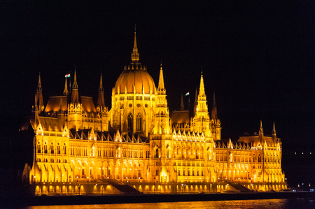 Budapests famous parliament buildings at night,